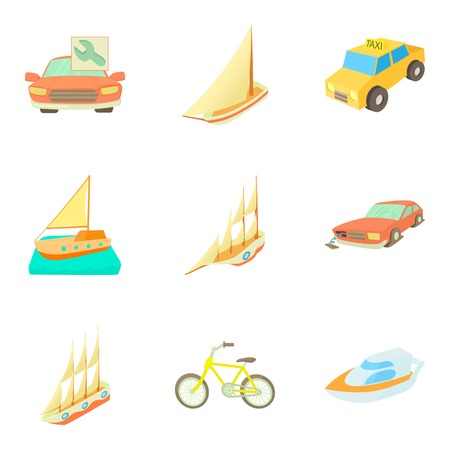 Urban transport icons set, cartoon style Vector illustration.