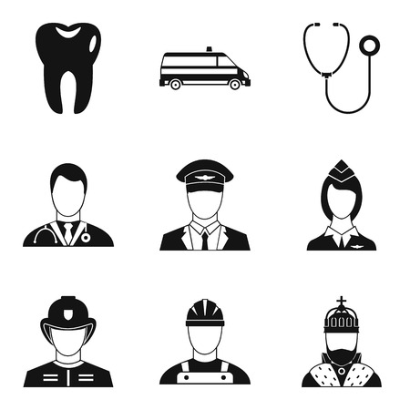 Human societal icons set, simple style Vector illustration.