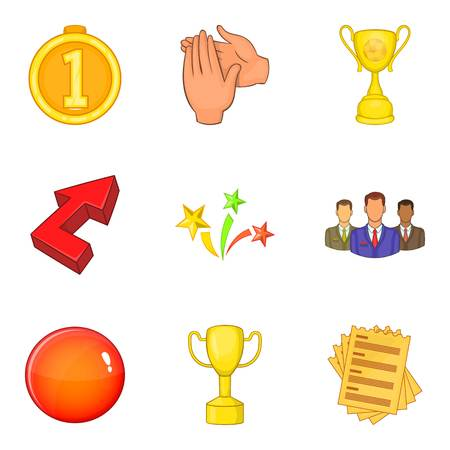 Acclaim icons set, cartoon style Vector illustration.