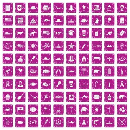 100 North America icons set grunge pink Vector illustration. Illustration