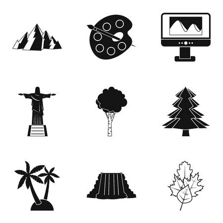Foreign attractions icons set, simple style Vector illustration. Иллюстрация