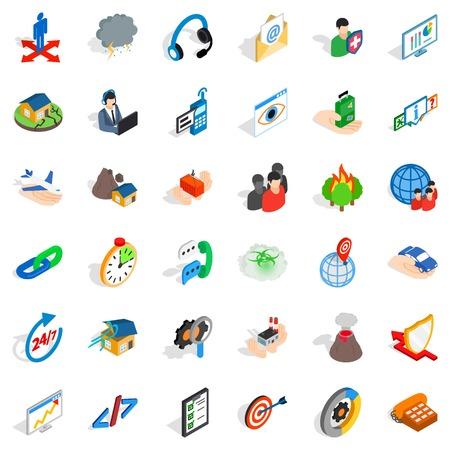 Conjunto de iconos de estrategia comercial, estilo isométrico ilustración vectorial.