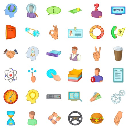 Business quarter icons set, cartoon style Vector illustration.