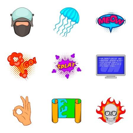 Fake reality icons set, cartoon style Vector illustration. Ilustrace