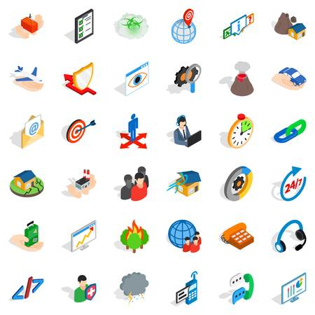 Commercial plan icons set, isometric style Vector illustration.