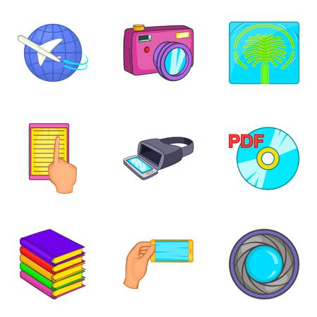 Virtual existence icons set cartoon style Ilustrace
