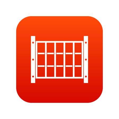 Yard fence icon digital red 일러스트