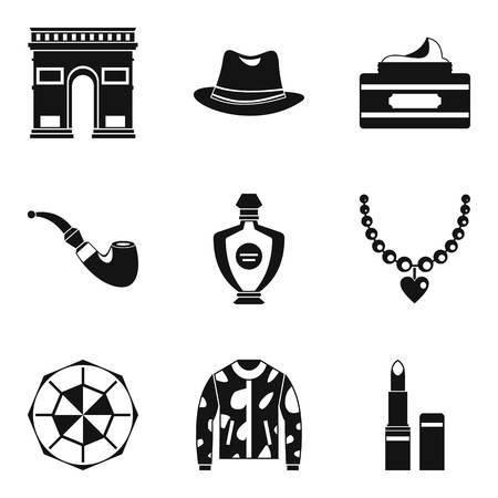 Tourist voyage icons set, simple style