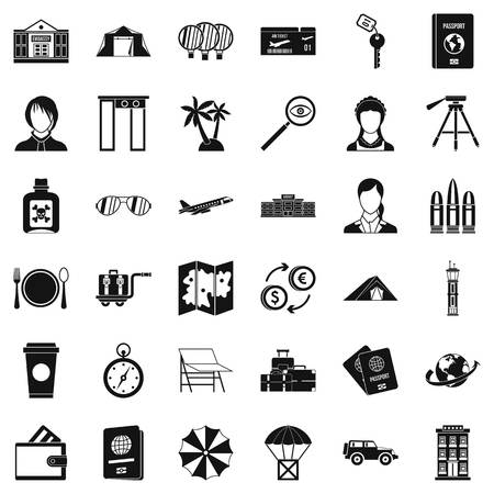 Certification icons set, simple style Stok Fotoğraf - 96891600
