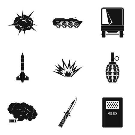 Act of war icons set, simple style