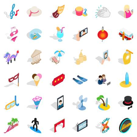 Merriment icons set, isometric style Illustration