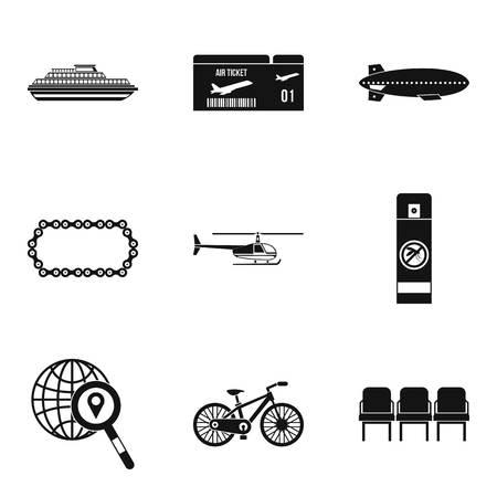Expeditie iconen set, eenvoudige stijl Stock Illustratie