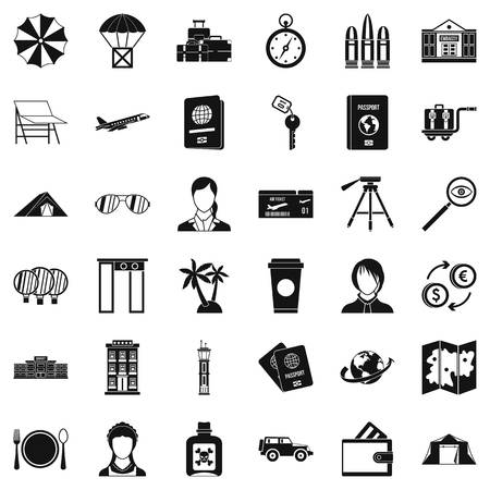 Foreign passport icons set, simple style Çizim