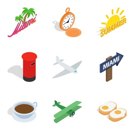 Travel and other icons set, isometric style