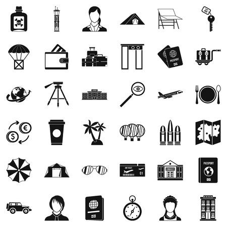 Pass icons set, simple style Çizim