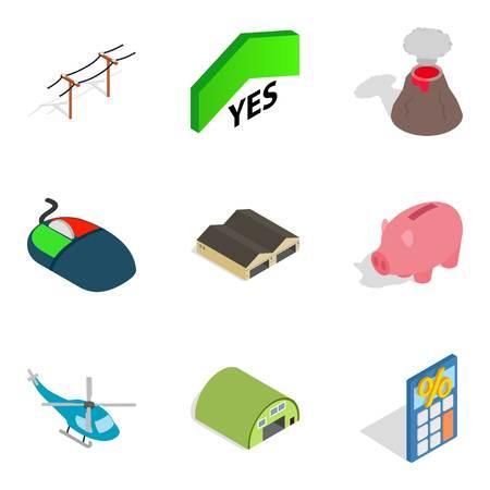 Aggression icons set, isometric style