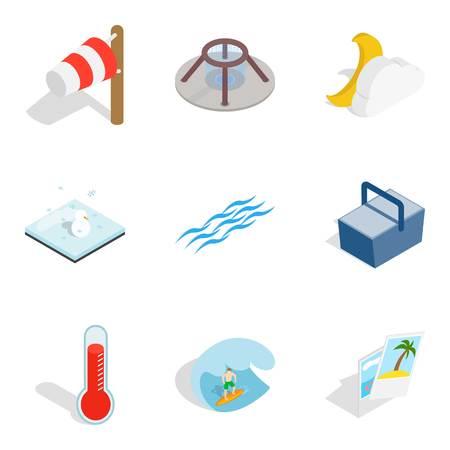Humidify icons set, isometric style Иллюстрация