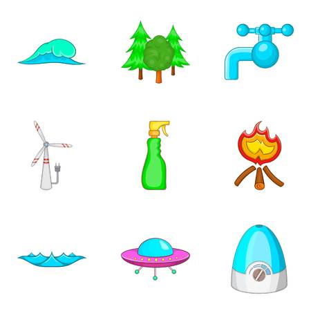 Water conditions icons set