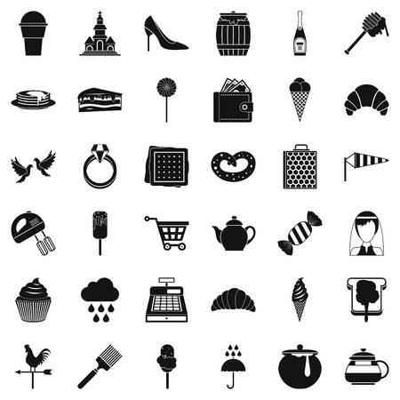 Set of candy factory icons simple style illustration.