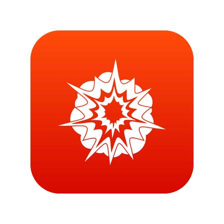Fire explosion icon digital red 向量圖像