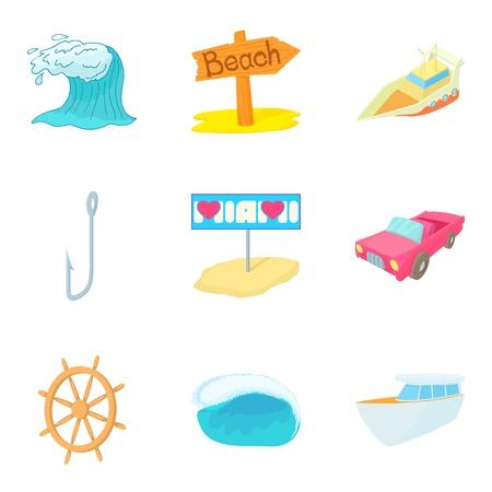Aquatic adventures icons set cartoon style illustration.