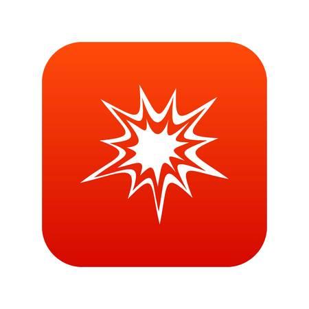 Icône d'explosion lourde numérique rouge Vecteurs