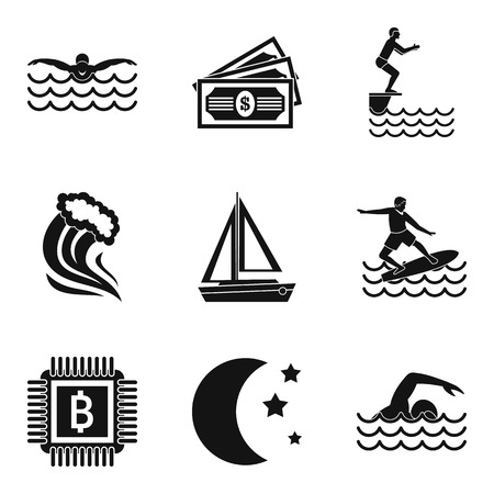 Aquatic sport icons set, simple style Иллюстрация