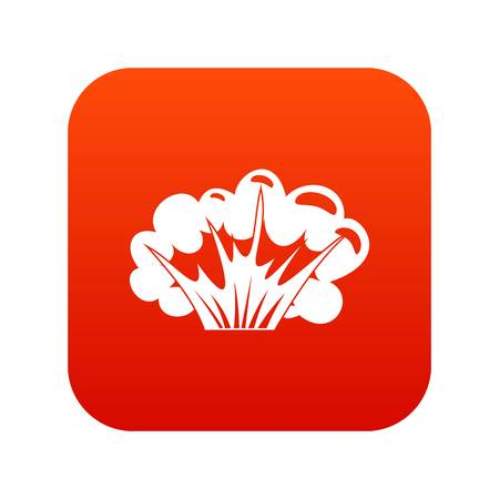 High powered explosion icon in digital red