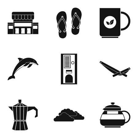 Cream icons set, simple style.