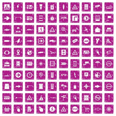100 pointers icons set grunge pink.