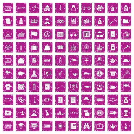 100 police icons set grunge pink. Stock Illustratie