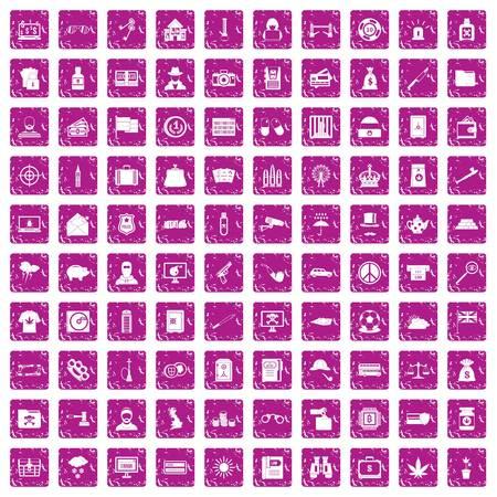 100 police icons set grunge pink. Illustration