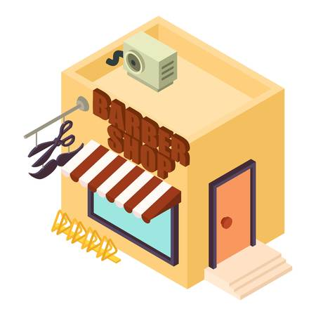 Isometric illustration of barber shop vector icon for web.