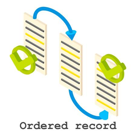 Isometric illustration of ordered record vector icon for web.