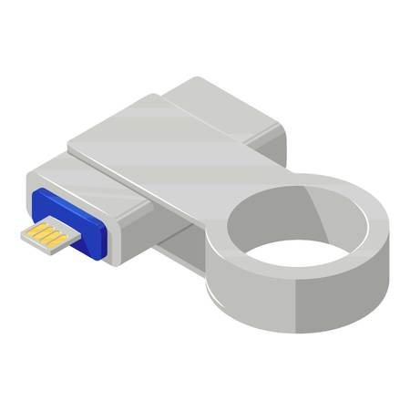 Key connector icon, isometric style