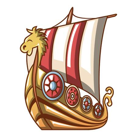 Cartoon illustration of ancient ship vector icon for web.