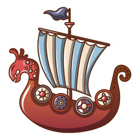 Cartoon illustration of frigate vector icon for web. Illustration