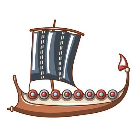 Galleon icon, cartoon style