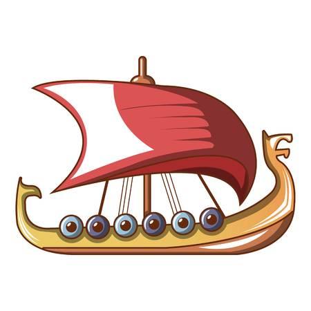 Scandinavian ship icon, cartoon style
