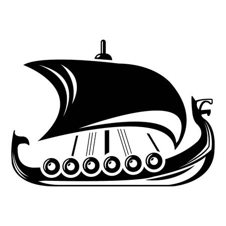 Simple illustration of Scandinavian ship vector icon for web.