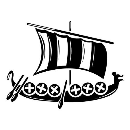 Viking ship icon, simple style