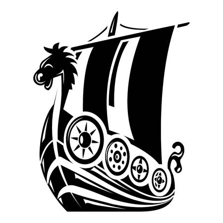 Ancient ship icon, simple style