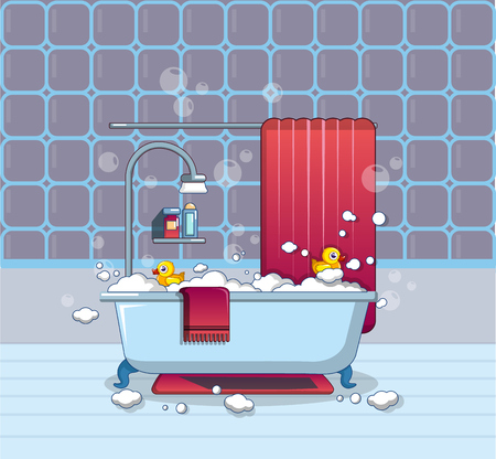 Home bathroom icon, cartoon style