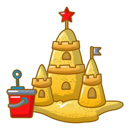 Cartoon illustration of sand castle vector icon for web.