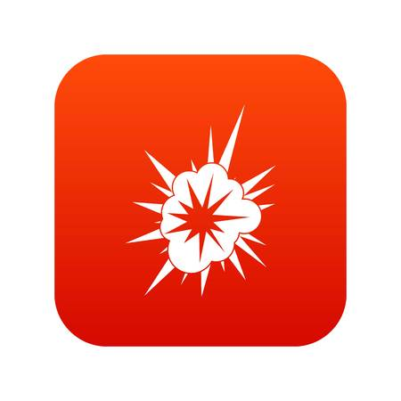 Nucleate explosion icon digital red for any design isolated on white vector illustration 向量圖像