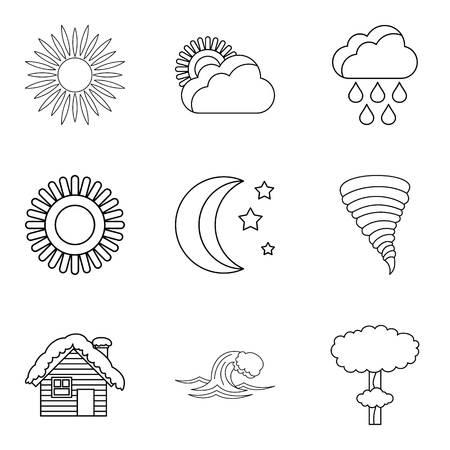 Correct prediction icons set. Outline set of 9 correct prediction vector icons for web isolated on white background