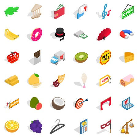 Pecuniary reward icons set. Isometric set of 36 pecuniary reward vector icons for web isolated on white background Çizim