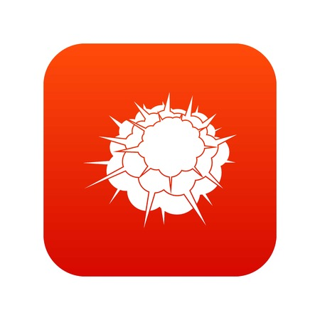 Atomic explosion icon digital red for any design isolated on white vector illustration 向量圖像