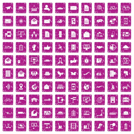 100 post and mail icons set in grunge style pink color isolated on white background vector illustration