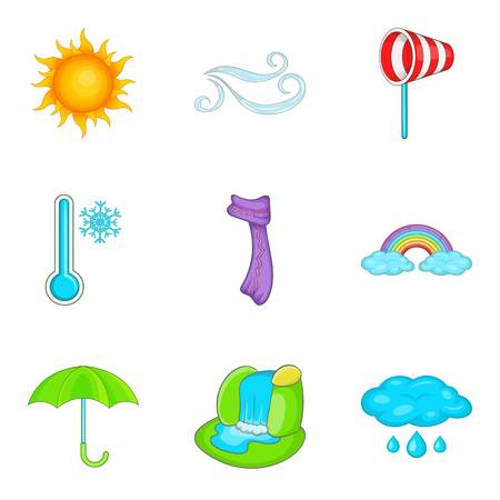 Predicting the weather icons set. Cartoon set of 9 predicting the weather vector icons for web isolated on white background